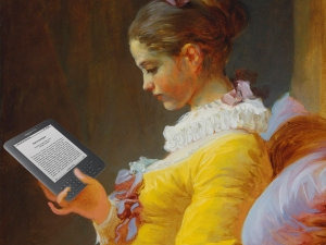 Nineteenth-Century Girl Using an Ereader