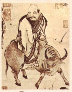 Ancient drawing of Lao Tzu riding the ox