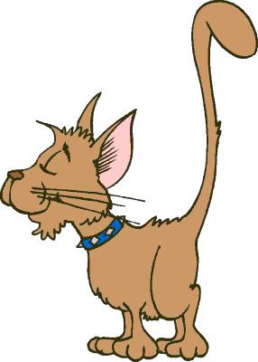 Smug Cartoon Cat with High Tail