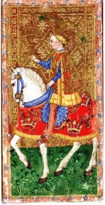 Tarot card showing a knight on horseback