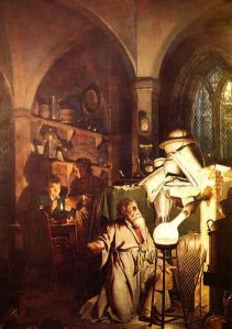 Alchemist kneeling beside his alembic