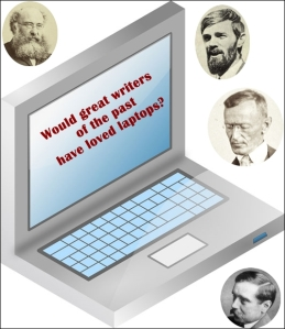 Laptop computer surrounded by faces of classic authors