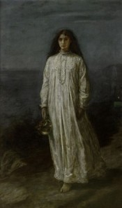 Sleepwalker in old fashioned nightdress
