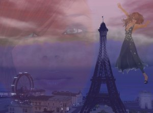 Surreal image of a ghostly face, and a woman flying near the Eiffel Tower