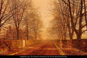 The painting titled Golden Light by John Atkinson Grimshaw.