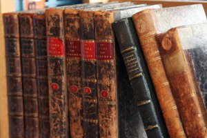 Row of Old Leather Bound Books