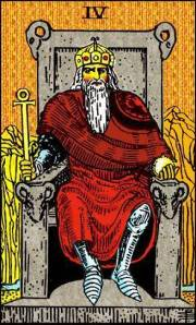 Tarot card showing the emperor on his throne
