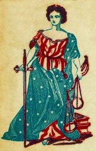 Lady Justice with sword and scales