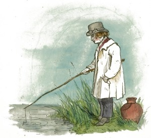 Man thoughtfully fishing with a stick