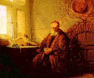 Detail from Rembrandt's Philosopher Meditating