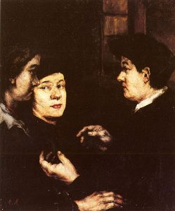 Painting depicting people in conversation