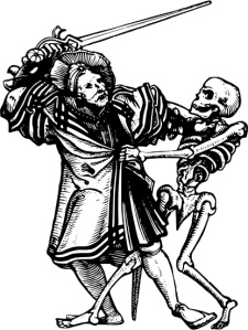 Man with sword fighting Death