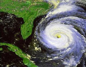 Satellite view of a hurricane near Florida
