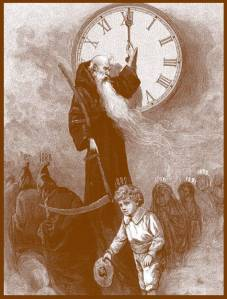 Etching of Father Time and Marchers