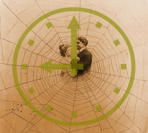 Man and woman at centre of a spider web with a clock-face overlay