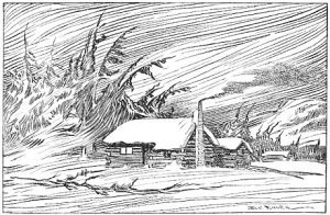 Log Cabin in Winter Wind