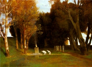 Painting of a sacred grove with ceremony in progress