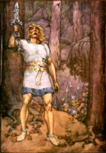 Beowulf with Raised Sword