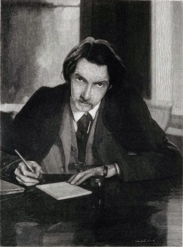 Robert Louis Stevenson writng at his desk.